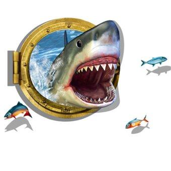 Harga GAKTAI 3D Porthole Ocean Shark Removable Wall Sticker Home Decor Decal Art Mural DIY - Intl