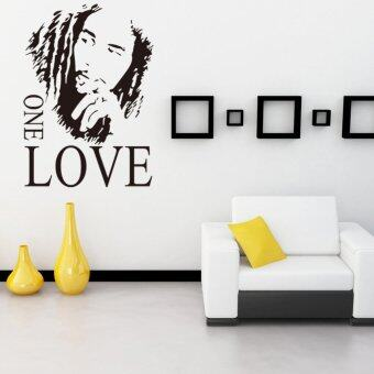 Harga Yika Bob Marley One Love Vinyl Quotes Wall Sticker (Black)