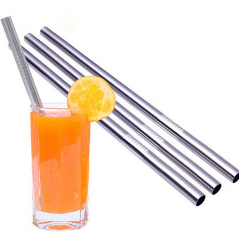 Harga HomeGarden Metal Drinking Straws Stainless Steel for Juice 4Pcs 8mm (Intl)