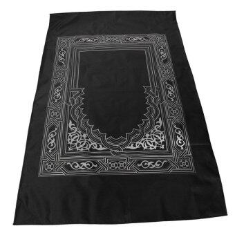 Harga Pocket Islamic Prayer Rug Muslim Prayer Mats with Compass and Carry Bag Carpet for Praying Bless (Black)