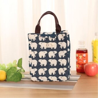 Harga Cartoon Printing Lunch Bag Heat Preservation Waterproof Bag Lunch Box Packaging Organizer Canvas Picnic Shopping Cosmetic Big Capacity Bag (Bear Style) - intl