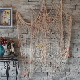 Harga Sanwood Fishing Net Beach Sea Shells Wall Home Decor - White