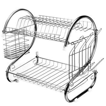 Harga Autoleader Stainless Steel Dish Rack 2 Tier - Space Saver Dish Drainer Drying Holder Sliver (Intl)