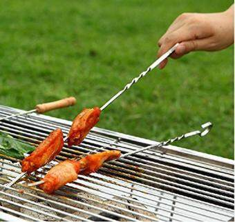 Harga leegoal 15 Inch Barbecue Skewers, 10 Pcs Stainless Steel BBQ Shish Kabob Set, Kabob Skewers For Meat, Chicken , Mushroom, Fruits And Vegetables For Your BBQ PARTY