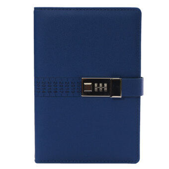 Harga A5 PU Leather Cover Secret Notebook Travel Journal with Code Lock Secret Diary Deep Blue - Intl