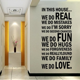Harga ETOP Family House Rules stickers wall Decal Removable Art Vinyl Decor Kids Black (Multicolor) (Intl)
