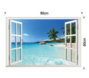 Harga Yika Beach 3D Window View Removable Wall Decal Art Sticker Vinyl Home Decor Mural