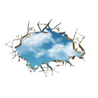 Harga YiKa 3D Blue Sky Broken Wall Mural Removable Wall Sticker Art Vinyl Decal Room Decor (Multicolor)