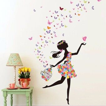 Harga Butterfly Dancing Girl Removable Wall Vinyl Sticker Decal Room Home Mural Decor