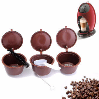 Harga 3pcs Reusable Coffee Capsules with Plastic Spoon with Cleaning Brush Refill Coffee Filter Baskets For Dolce Gusto Refill - intl