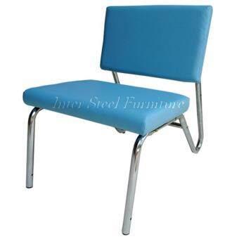 อยากขาย Inter Steel เก้าอี้โซฟาขาเหล็ก 1ที่นั่ง โครงเหล็กโครเมี่ยมเงาเบาะหนังเทียม (สีฟ้าอ่อน)