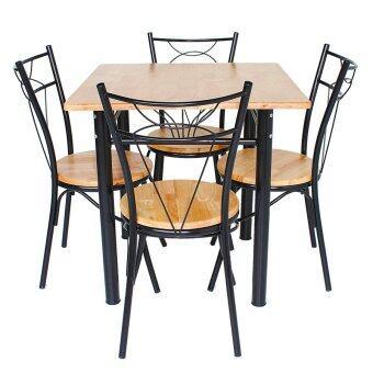 Inter Steel ชุดโต๊ะกินข้าว 4ที่นั่ง ชุดMono Nature75 (โครงสีดำ/ท็อปไม้ยางธรรมชาติ )