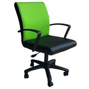 Inter Steel เก้าอี้สำนักงาน ปรับโช๊คแก็ส รุ่น Office Chair02 (เบาะหนังสีดำ/เขียว )