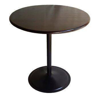 Inter Steel โต๊ะอาหาร โต๊ะทานข้าว รุ่น T2O ขาสีดำ ท็อปกลม75ไม้ยางทำสีโอ๊ค
