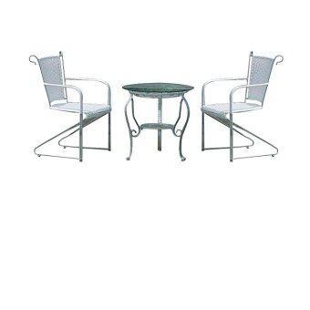 Intrend Design ชุดรับแขกสนาม 2ที่นั่งพร้อมโต๊ะกลางกระจก รุ่น แซมโปบี (โลหะ/หวายเทียมสีขาว )