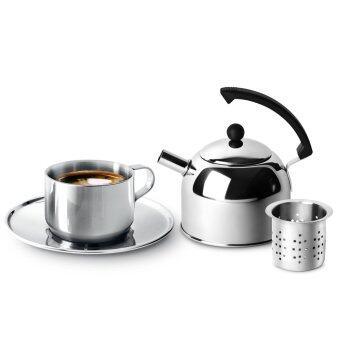 Jaguar ถ้วย กาแฟ พร้อม กาน้ำชา 1.2 ลิตร 1 ชุด (Silver)