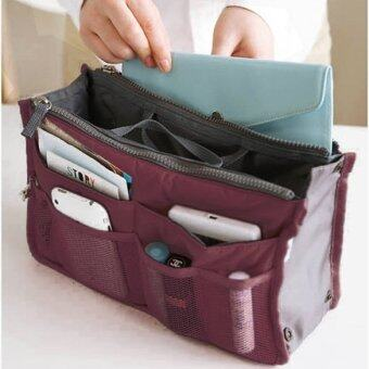 JinGle Multi-Pocket Organizer Storage Case Pouch Bag (Wine Red)