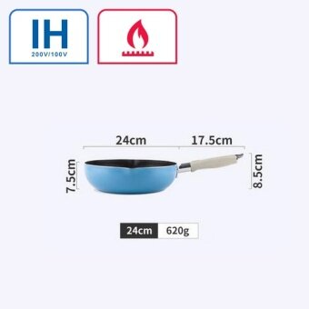 Justcook 24cm Wok Frying Pans Non-Stick No-smoke Kitchen Cooking Tools General Use for Gas and Induction Cooker Blue - intl