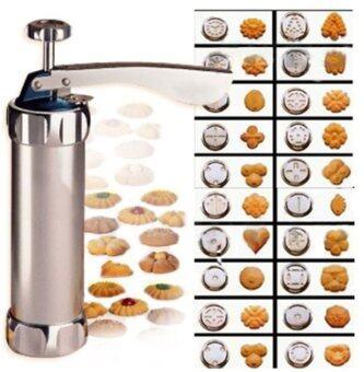 KitchenMarks กระบอกกดคุกกี้สแตนเลส พร้อมหัวกด 20 หัว หัวบีบ 4 หัว เครื่องกดคุกกี้สแตนเลส เครื่องปั้มคุกกี้สแตนเลส