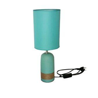 KK Shop โคมไฟตั้งโต๊ะ สไตล์วินเทจ+หลอดไฟ รุ่น เซรามิค ( เขียว )
