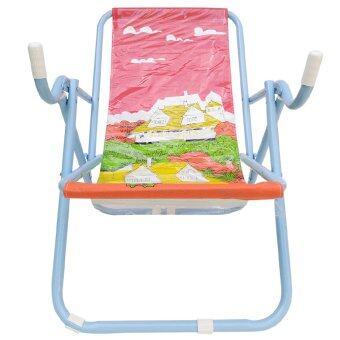 KK_Shop เตียงผ้าใบปิคนิคชายหาด รุ่น เก้าอี้ชายหาด02 โครงเหล็ก (สีฟ้า/ผ้าใบสีแดง )