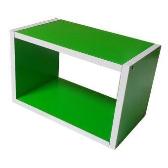 KK_Shop กล่องไม้1ช่องโล่ง รุ่น Box#1(40x23) ไม้PBfoil - สีเขียว