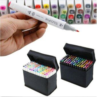 Landscape Design 80 Colors Dual Tips Art Sketch Twin Marker Pens Highlighters with Carrying Case for Painting Coloring Highlighting and Underlining - intl