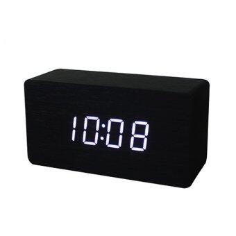 LED Office Desk Wooden Digital Alarm Clock(Black Bottom+White Word)