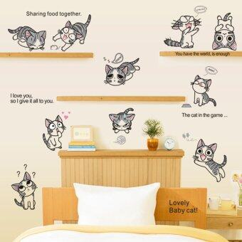 Lovely Cats Wall Decal Home Sticker House Decoration WallPaperRemovable Living Dinning Room Bedroom Kitchen Art Picture MuralsDIY Stick Girls Boys kids Nursery Baby Playroom Decoration