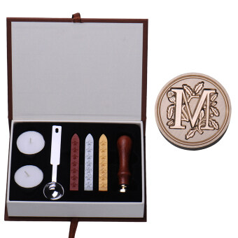 M Initial Letter Vintage Alphabet Wax Badge Seal Stamp w/Wax KitSet Letter A-Z Optional