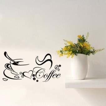 Makiyo 58cm*30cm Removable Wall Sticker Coffee Cup DIY Art Vinyl Decal Mural Coffee Shop Kitchen Home Decor - intl