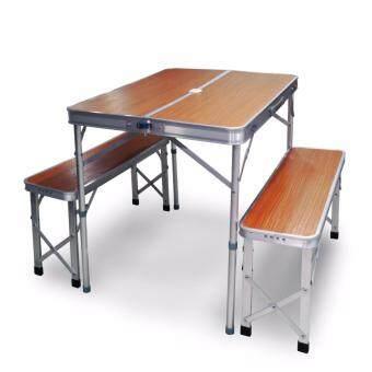 Maneki โต๊ะปิคนิค โต๊ะพับ โต๊ะปิคนิคพับได้ โต๊ะสนาม ตั้งแคมป์ โต๊ะเก้าอี้ ปิคนิค Camping Table Camping Chair รุ่น TSN001-TB1 (สีน้ำตาลลายไม้)