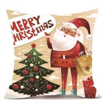 Merry Christmas Pillow Cases Super Cashmere Sofa Cushion Cover Home Decor - intl