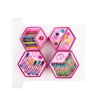 Mimosifolia ชุดจิตรกรรมสำหรับเด็กชุดปากกาน้ำดินสอเขียนสีดินสอเด็กกล่องของขวัญชุดเครื่องเขียนโรงเรียน 46PCS Pink - intl