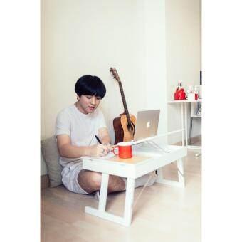 mobel โต๊ะแล็พท๊อปอเนกประสงค์ 1ตัว สำหรับวางแล็พท๊อปโน๊ตบุ๊ค ไม้ยางแปรรูป สีขาว