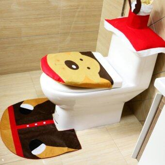 Moonar 3Pcs Set Christmas Ornaments Snowman Toilet Seat CoverBathroom Mat Closestool Cover Rug 3
