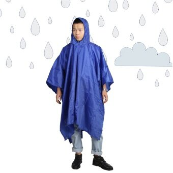 Multifunctional Raincoat Outdoor Climbing Cycling Rain PonchoTriple Backpack Rain Cover Waterproof Tent Mat Canopy Rainsuit -intl