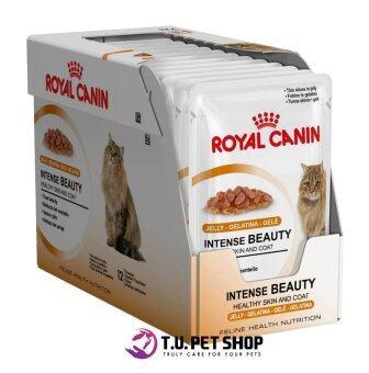 *New Packaging Royal Canin Intense Beauty in Jelly x 12 Pouches โรยัลคานิน อาหารชนิดเปียกแบบซอง 85 กรัม สำหรับแมวโตอายุ 1 ปีขึ้นไป บำรุงขนและผิวหนัง (เยลลี่) (12 ซอง)
