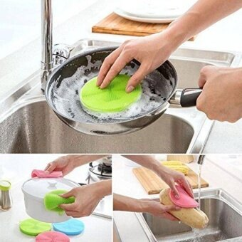 New Silicone Dish Washing Sponge Scrubber CleaningAntibacterialkitchen Tools(Color:Green)