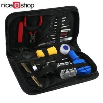 niceEshop Set Of 19pcs Portable Watch Repair Tools Kit Set WithCarry Case,Multi Color - intl