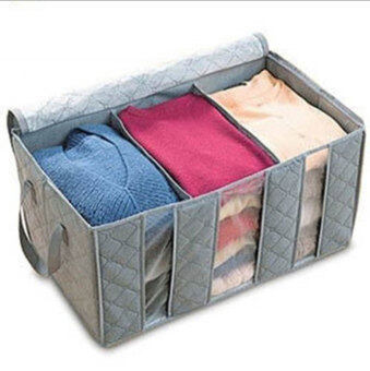 niceEshop Three Grid Bamboo Charcoal Clothing Storage Box WithWindows Category - 2