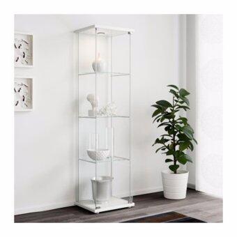 NK Furniline ตู้โชว์กระจกนิรภัย รุ่น glass cabinet40x160 -ท้อปสีขาว(แถมโคมไฟสปอตไลท์ LED1ดวง)