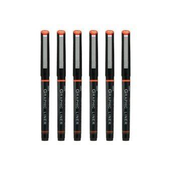 ปากกา OHTO Pen JAPAN Graphic Liner ตัดเส้น กันน้ำ ขนาดหัวปากกา 1.0Black - 6 ด้าม