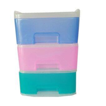 OL&P shop ตู้ลิ้นชักพลาสติก ขนาดเล็ก 3 ชั้น (คละสี)