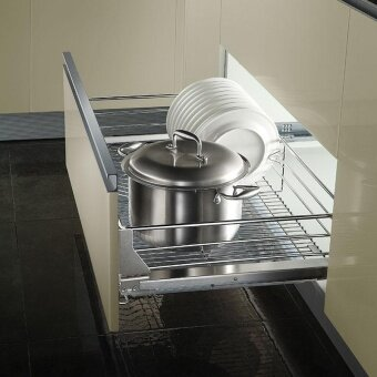 OPPEIN Kitchen Storage Stainless Steel Plating Pull-out Kitchen Drawer Basket -To suit a 600mm Unit