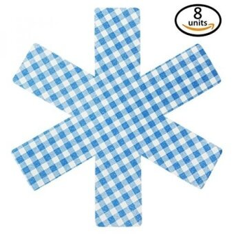 Pan Protectors - Set of 8 - [PLAID BLUE] - Cookware Guards and Savers Avoid Scratching Kitchenware Fajita Surface Protector All Sizes - intl