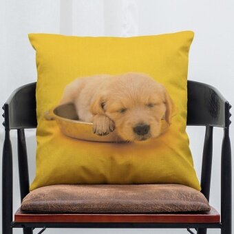 Pet Dog Animal Cotton Linen Throw Pillow Case Cushion Cover Home Decor J - intl