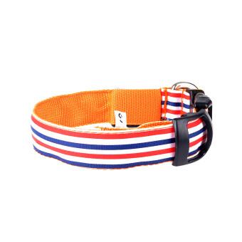 Pets Dogs Night Strip Collar Flash Light Up Led Collars Safety\nWaterproof Adjustable Stripe Colorful XlOrange Orange