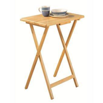 PJ Wood โต๊ะพับไม้ยางพารา / ทีวีเทรย์ (สีธรรมชาติ)