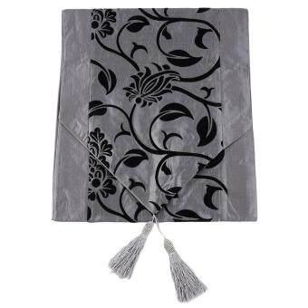 อยากขาย โอ้นกสีขาวลายดอกไม้ประดับแพรผ้าปูเตียงวิวาห์เรโทรตารางผ้าสีเทา